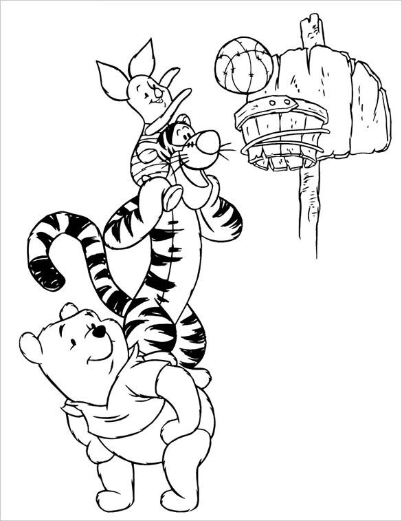 cartoon basketball coloring page