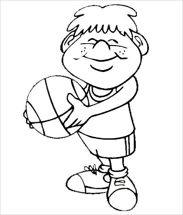 cute basketball coloring page