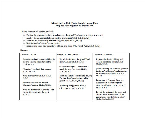 Kindergarten Lesson Plan Template – 11+ Free Sample, Example