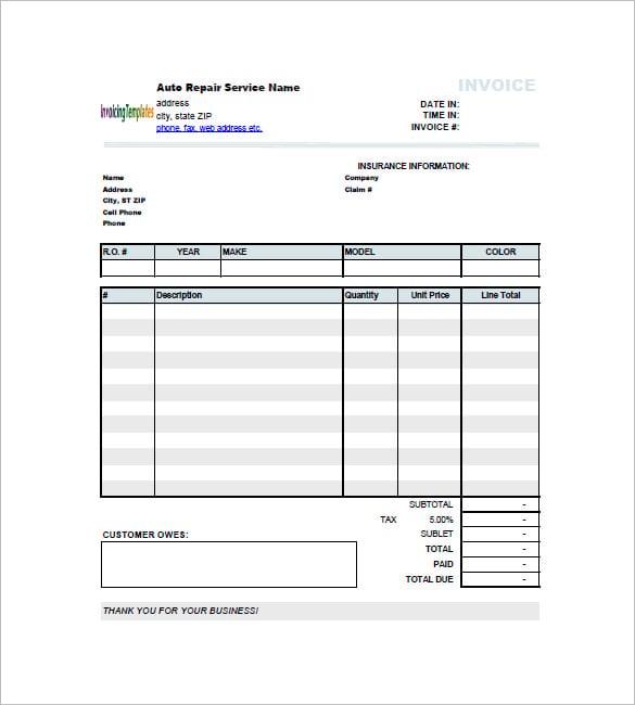 auto repair invoice template excel  Auto Repair Invoice Templates - 12  Free Word, Excel, PDF Format ...