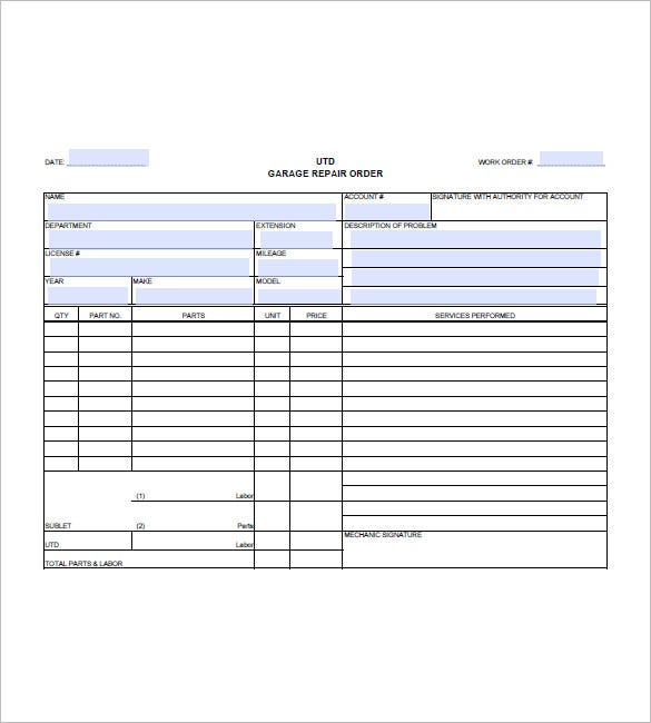 Auto repair invoice template 8 free sample example for Florida auto repair invoice
