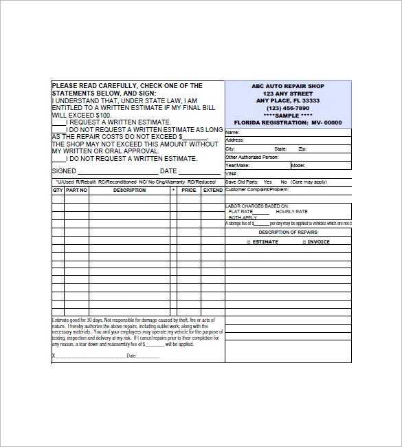 Auto Repair Invoice Template   Free Sample Example Format