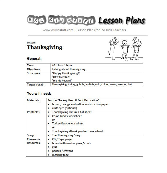 Thanks Giving Lesson Plan Kindergarten Free PDF Format  Free Lesson Plan Format