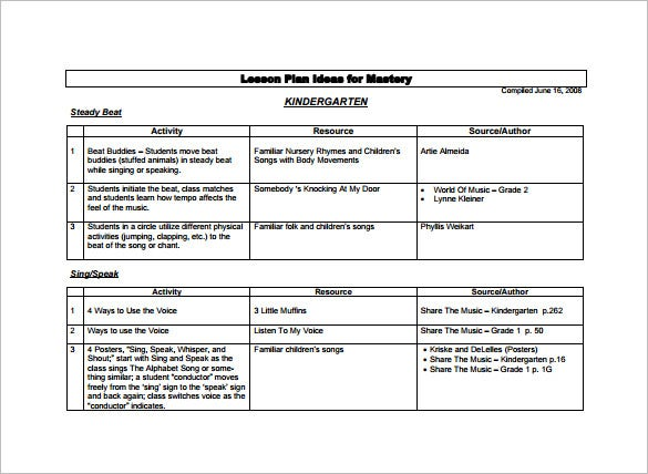 Kindergarten Lesson Plan Template Free Word Documents Download - Music lesson plan template