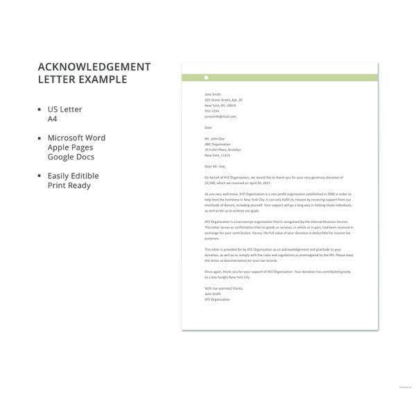 acknowledgement letter example