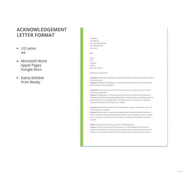 acknowledgement letter format