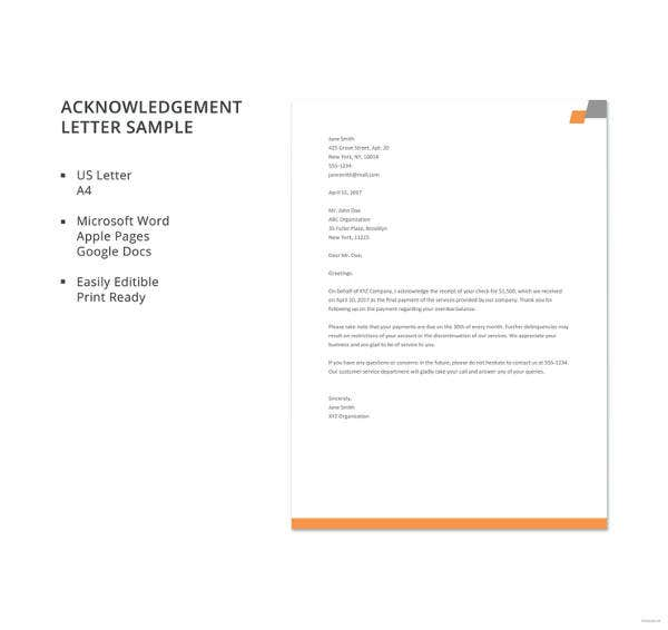 acknowledgement letter sample