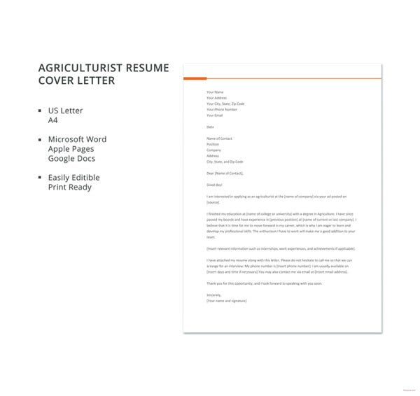 agriculturist resume cover letter template