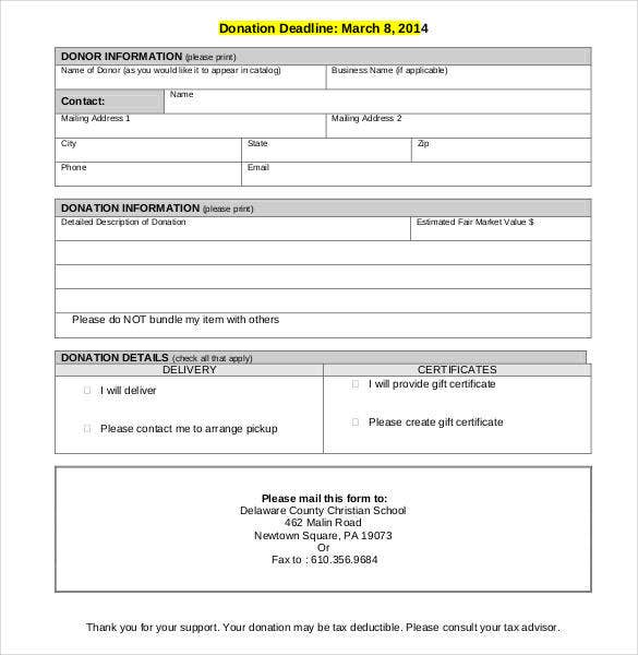 auction solicitation letter and donation form