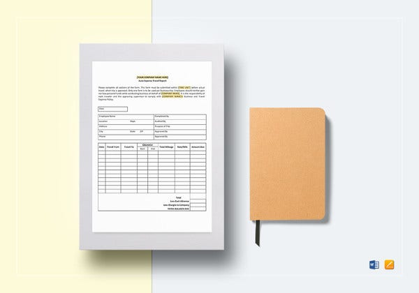 auto expense travel report template to edit