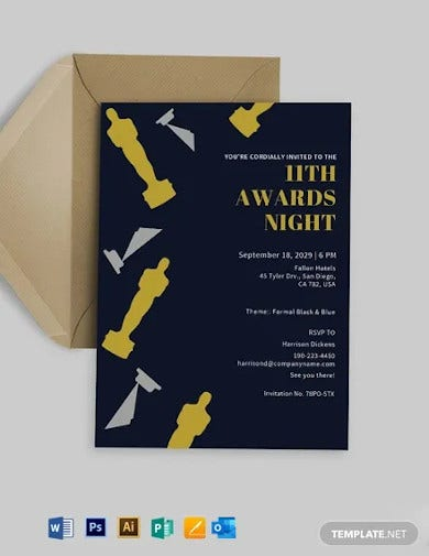award invitation card template