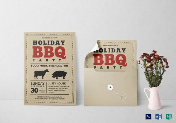 barbecue party invitation card template
