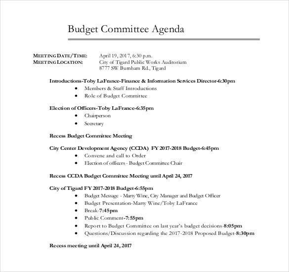 basic budget committee agenda