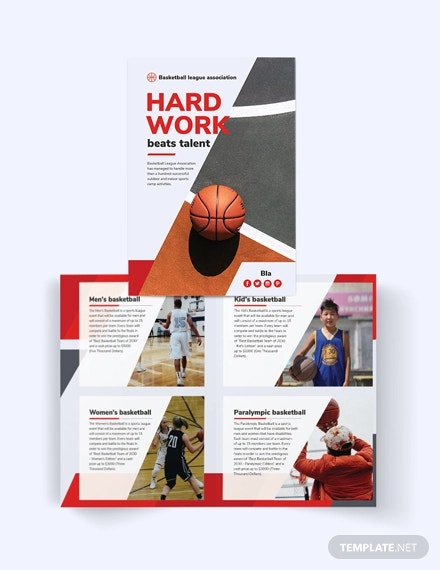 basketball bi fold brochure template