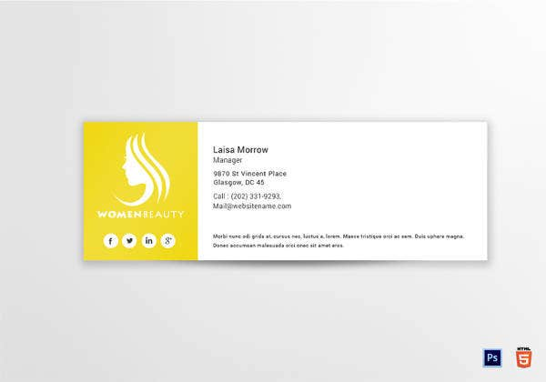 beautician email signature template