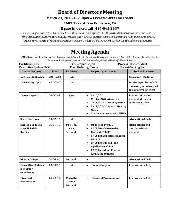 annual board of directors meeting minutes template - 50 meeting agenda templates pdf doc free premium