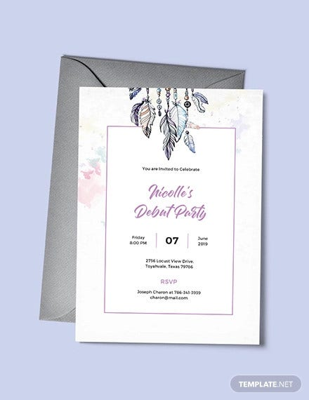 boho debut invitation template1