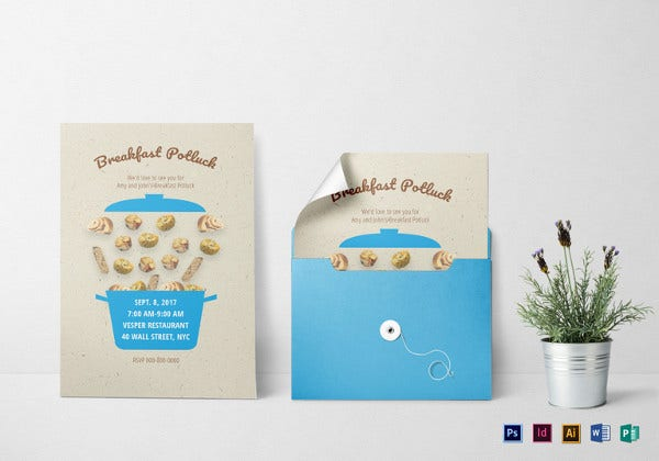 breakfast potluck invitation indesign template