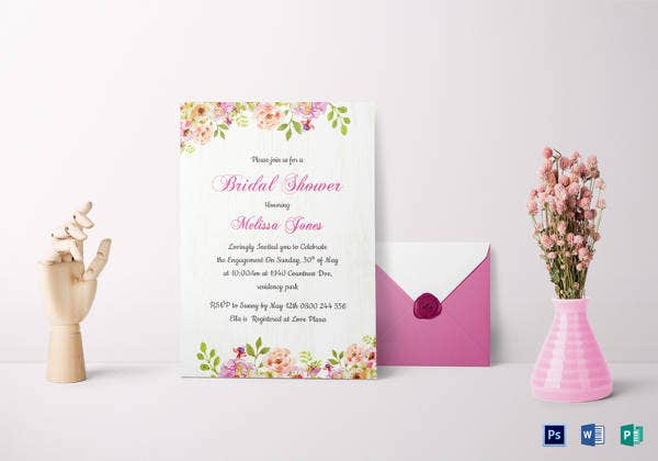 bridal wedding shower invitation card template