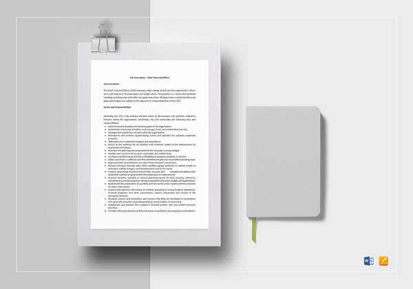 chief financial officer job description template