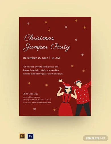 christmas jumper day poster template
