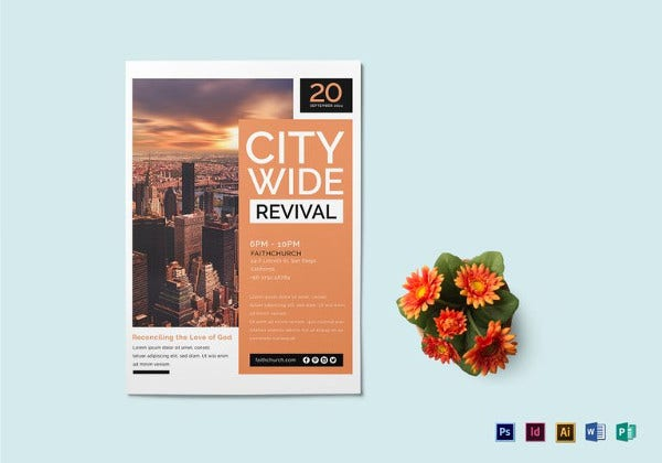 city wide revival church flyer template in psd