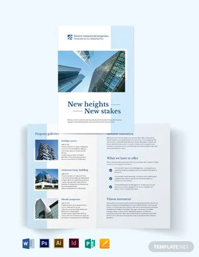 commercial real estate bi fold brochure template