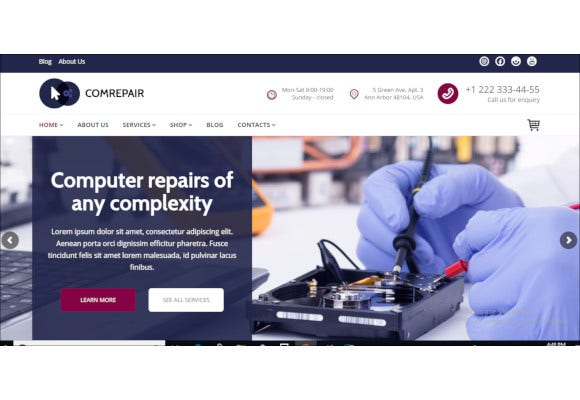 computer repair services wordpress theme