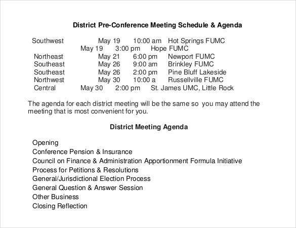 conference meeting schedule agenda