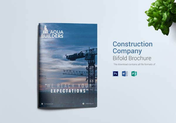 construction company bi fold brochure design