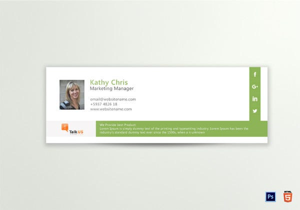 corporate email signature template
