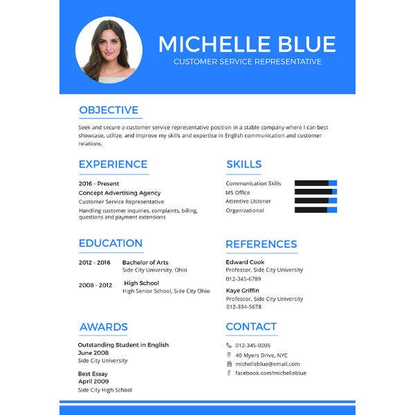 customer service representative resume format
