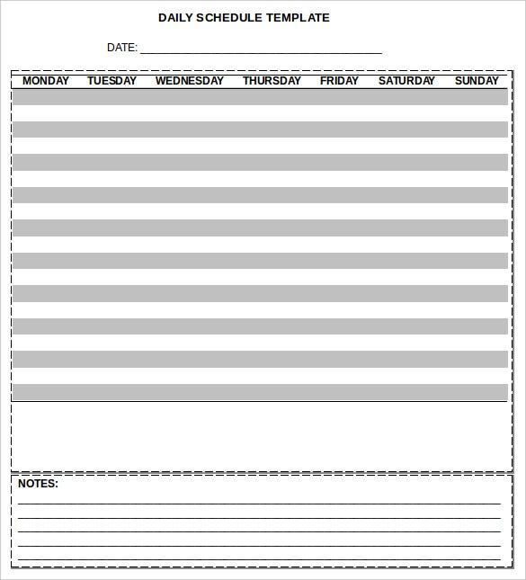 daily schedule template free download