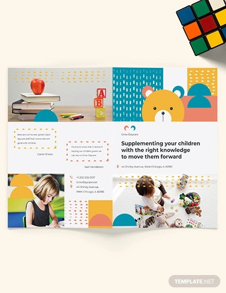 daycare center bi fold brochure template
