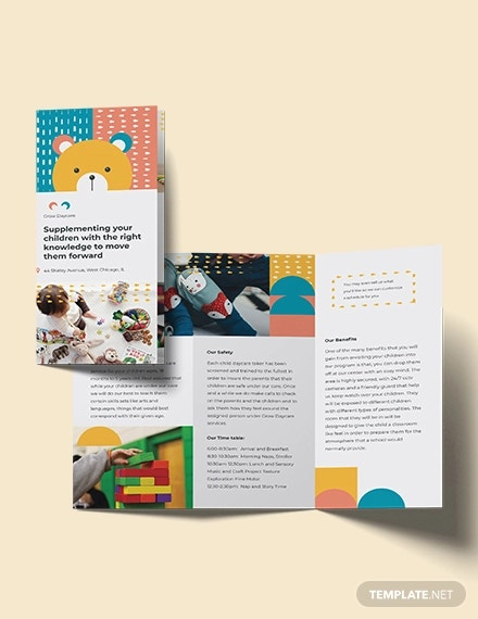 daycare center tri fold brochure template