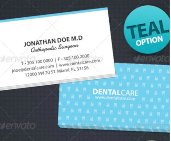 dental clinic business card for dentist