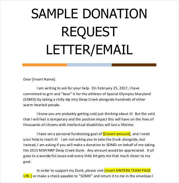 donation request email letter sample