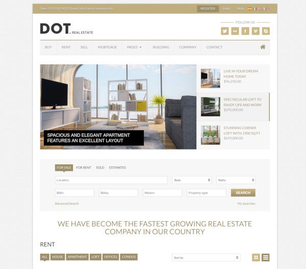 dot real estate html5 template