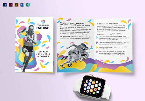 editable bi fold abstract brochure template