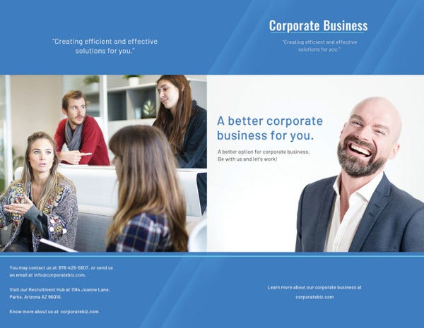 editable corporate bifold brochure template