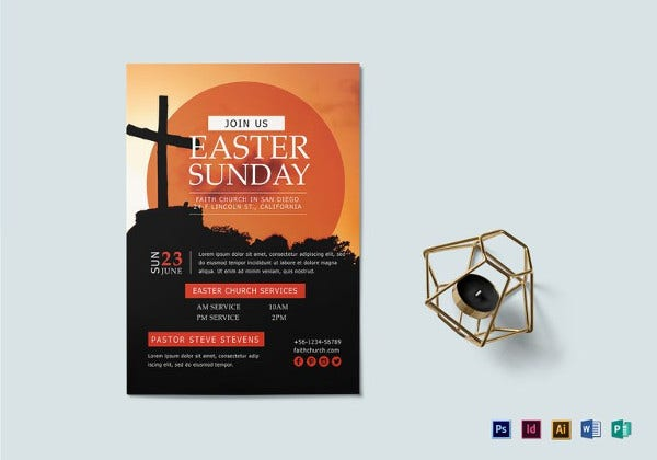 editable easter sunday flyer template