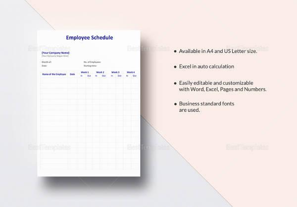 editable employee schedule template