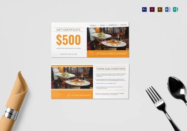 editable restaurant gift certificate template