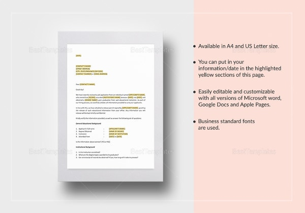 Reference Letter Template 42 Free Sample Example Format – Reference Check Template