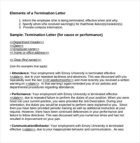 23 free termination letter templates pdf doc free premium elements of a generic termination letter for cause or performance expocarfo