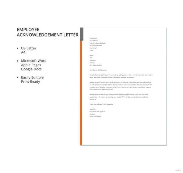 employee acknowledgement letter