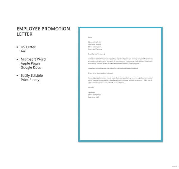 16 Promotion Letter Templates Free Samples Examples Format