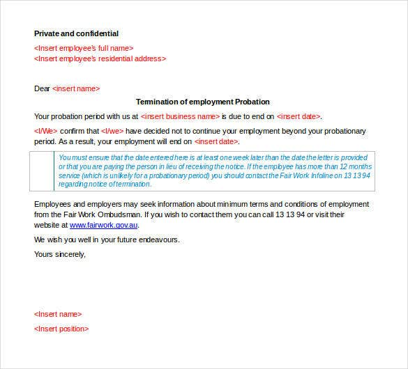 Free Termination Letter Template - 31+ Free Sample, Example ...