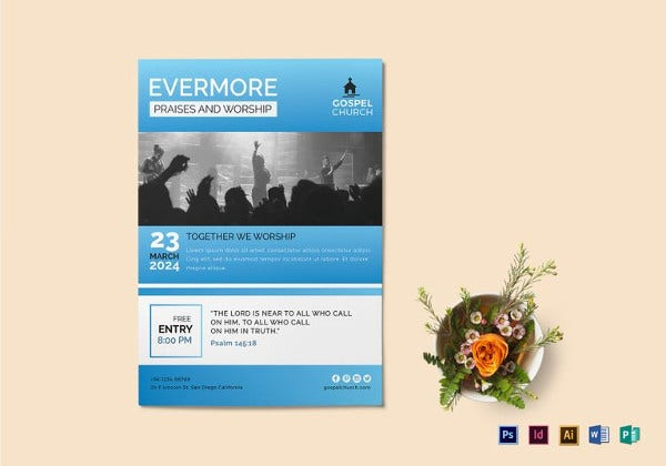 evermore church flyer template in indesign