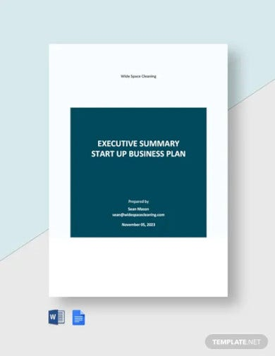 executive summary startup business plan template